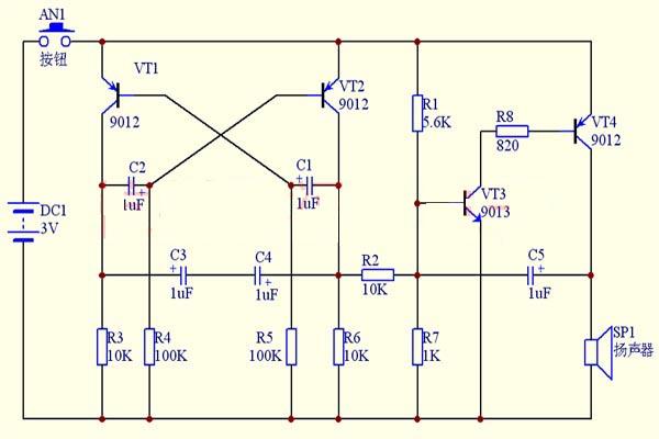 该制作套件电路原理简单