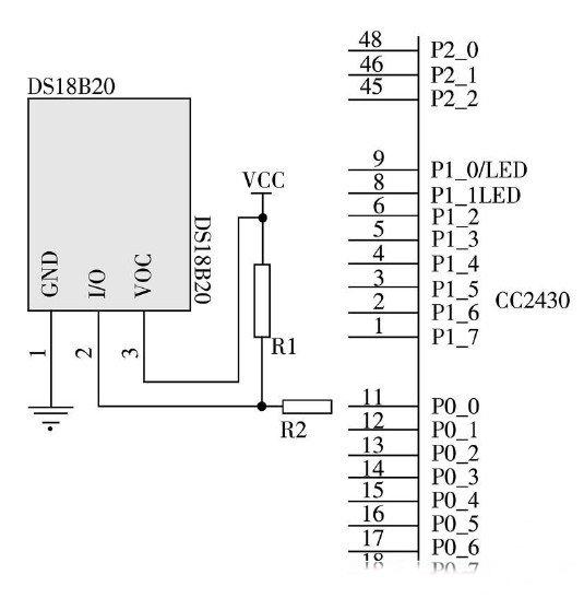 与温度传感模块的连接电路图
