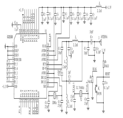 按键电路采用3x4的矩阵键盘